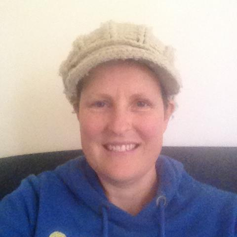 This is the hat that I lived in while I was having chemotherapy. It not only kept my head warm but looked groovy too! I never used to wear hats but now I love them!