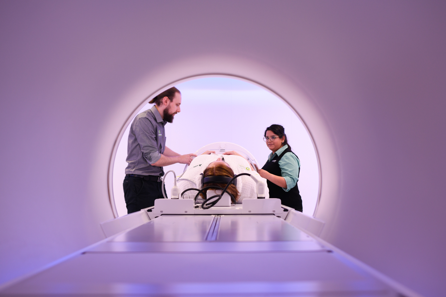 A patient being treated in the MRI-guided linear accelerator