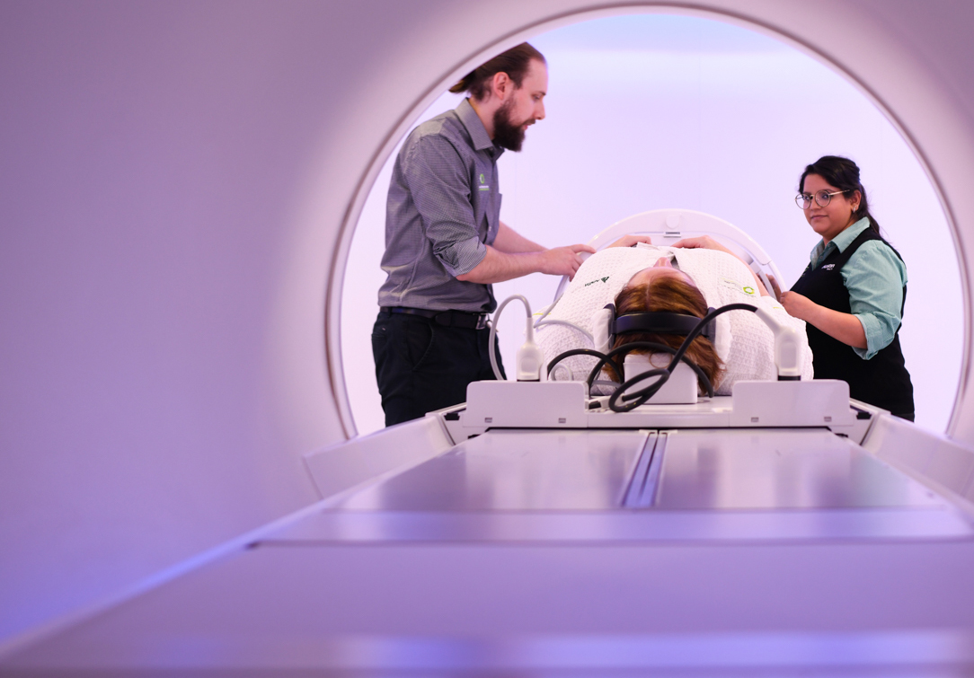A patient being treated in our new MRI linac accelerator in Radiation Oncology